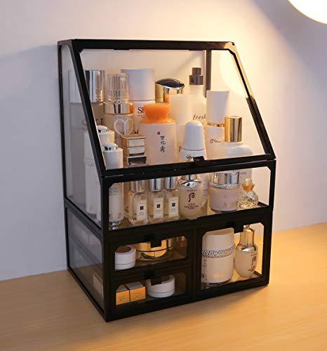 MOOCHI Black Vintage Glass Cosmetic Makeup Organizer 3 Drawers Set Dust Waterproof Cosmetics Storage Display Case Countertop for Brushes Lipsticks Jewelry