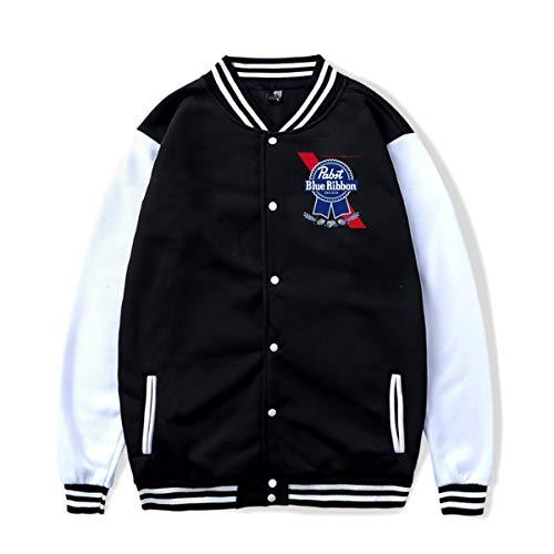 WillardSCox Unisex Pabst Blue Ribbon Beer Popular Baseball Uniform Jacket Sport Coat Sweatshirt Outwear Black XXL
