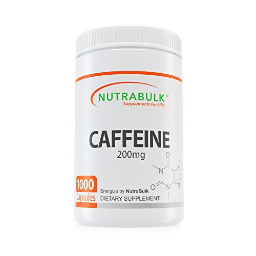 Cheap NutraBulk Premium Caffeine Capsules (200 mg) – All Natural, Pharmaceutical Grade Microencapsulated Supplement for Energy, Weight Loss, and Focus (1000 Count)