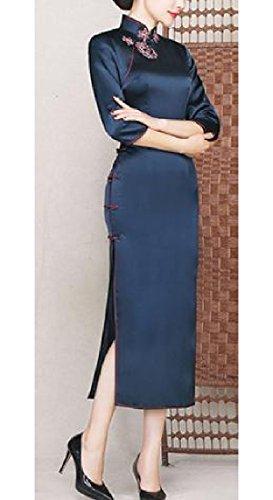Confortables Femmes Rétro Cheongsam Robe Chinoise Imprimé Floral Marine Robe Fourreau De Crayon De Soie Bleu
