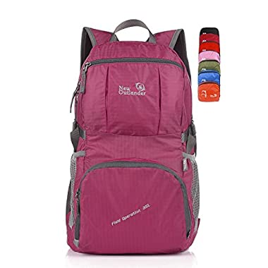 Outlander Large Packable Handy Lightweight Travel Backpack Daypack, Fuschia