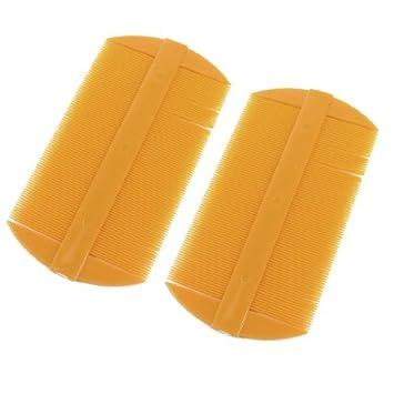 eDealMax 2 piezas de plástico Amarillo Oscuro Doble lado Recto de dientes del cepillo de Pelo