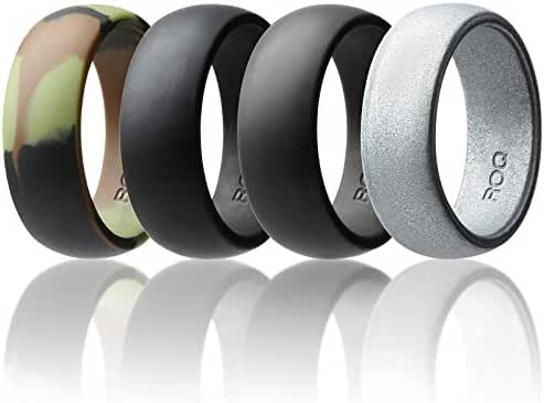 Silicone Wedding Ring For Men By ROQ Affordable Silicone Rubber Band, 4 Pack & Singles - Camo, Metal Look Silver, Black, Grey, Light Grey