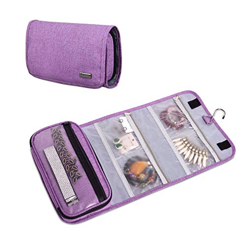 Teamoy Hanging Jewelry Organizer, Foldable Jewelry Roll Travel Jewelry Case for Rings, Necklaces, Earrings, Bracelets and More, Purple(No Accessories Included)