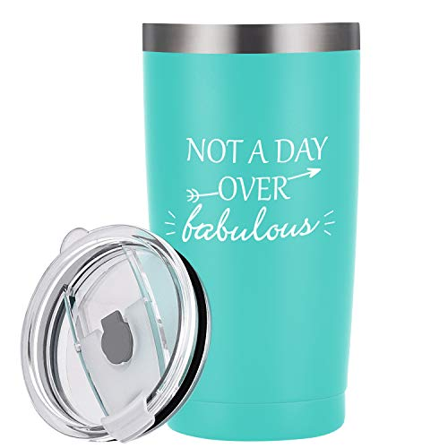 Not a Day Over Fabulous Tumbler Birthday Gifts Ideas for Women, 20 Oz Insulated Stainless Steel Travel Tumbler with Lid for Her Best Friends Wife Retired Coworkers, Mint (Best Friend Day Ideas)