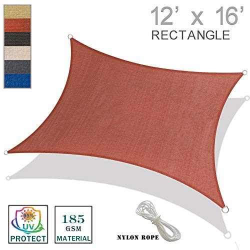 SUNNY GUARD 12' x 16' Terra Rectangle Sun Shade Sail UV Block for Outdoor Patio Garden (20 Patio Blocks X 20)