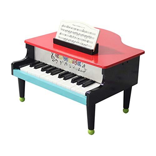 MLMHLMR Triangulo pequeno Piano de Madera fisico mecanico Reloj Superior 25 ninos Clave de iluminacion educacion temprana musica Juguete Teclado para ninos (Color : Black)