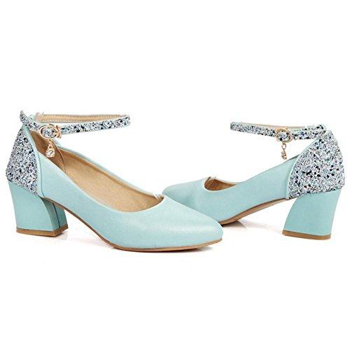 TAOFFEN Women's Ankle Strap Court Shoes Blue N3o2B