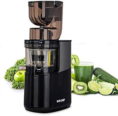 Bio Chef Atlas Whole Slow Juicer Pro – Extractor de zumos, 350W, 40 RPM, licuadora prensado en frío. Garantía de por Vida en el Motor. (Negro): Amazon.es: Hogar