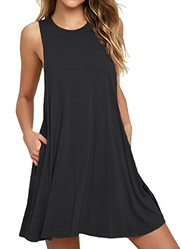 (WEACZZY Women Summer Sleeveless Pockets Casual Swing T Shirt Dresses Beach Cover up Plain Pleated Tank Dress (L, 01 Black))