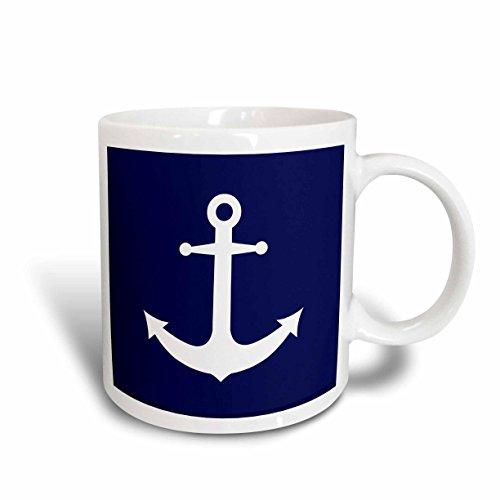 3dRose mug_165798_1 Navy Blue and White Nautical Anchor Design Ceramic Mug, 11-Ounce