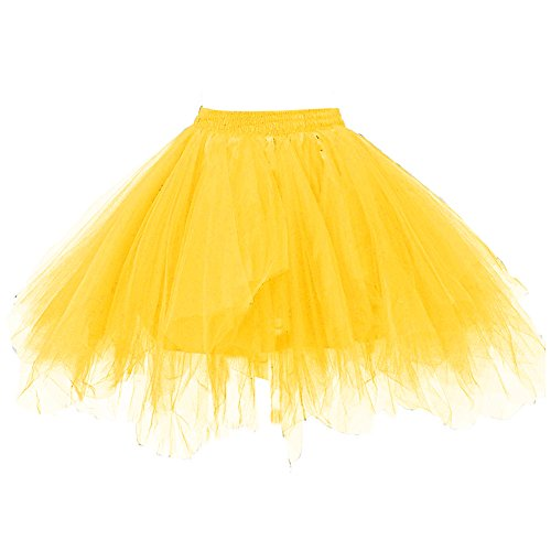 Kileyi Womens Tutu Costume Adult Party Dance Tulle Skirt Short Fluffy Petticoat Gold M