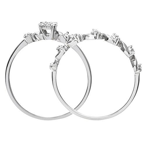 Revoni - Ensemble bague de fiançailles et alliance en or blanc 9 carats et diamants