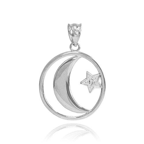 Sun Diamond Bracelets (Fine 10k White Gold Diamond-Accented Islamic Charm Crescent Moon and Star Charm Pendant)