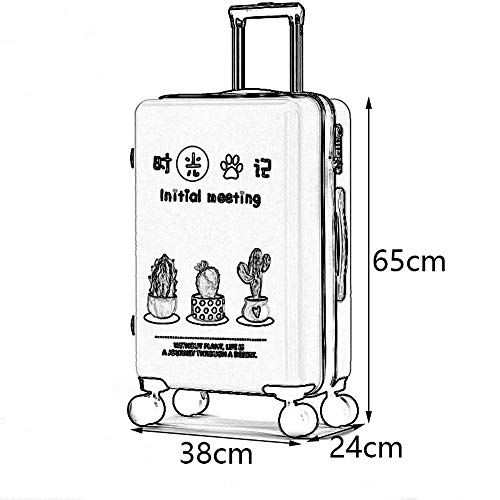 ABS//PC 5 Patterns Optional /&/& TSA Custom Code Lock ZJ-Trolley Trolley Case Small Fresh Student Creative Plant Travel Large Capacity Trolley Case Frosted Pearlescent Surface