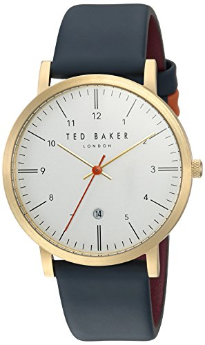 Ted Baker Men's 'SAMUEL' Quartz Stainless Steel and Leather Casual Watch, Color:Silver-Toned (Model: - Watches Baker Ted Mens