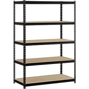 "EDSAL Heavy Duty Garage Shelf Steel Metal Storage 5 Level Adjustable Shelves Unit 72"" H x 48"" W x 24"" Deep (5 Pack)"
