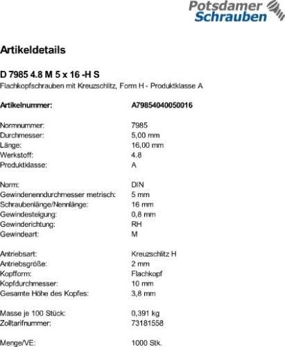 1000 Kreuzschlitz Linsenschrauben DIN 7985 4.8 H M5x16