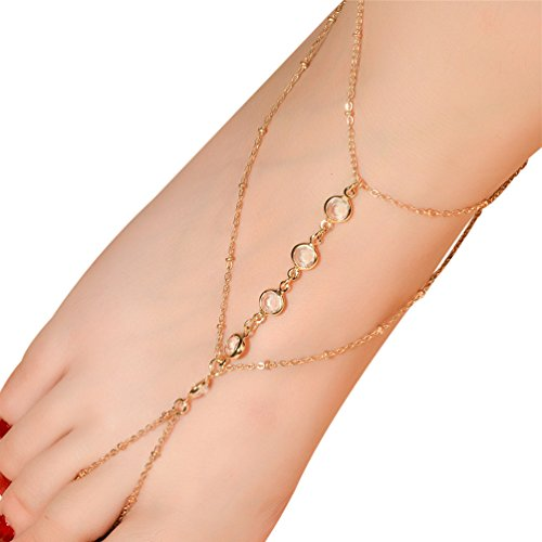 Qtalkie 1PC Sexy Link Anklet Chain Tassel Crystal Bracelet Barefoot Sandal Beach Foot Jewelry String of Beads Anklet Chain (Gold) (Gold Bead Link Chain)