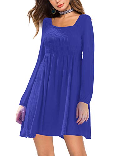 (Amoretu Womens Dresses Casual Long Sleeve Smocked Waist Party Dress (Blue, XL))