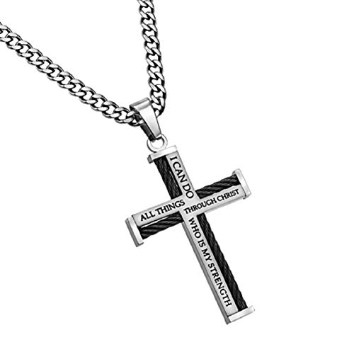 Spirit & Truth Stunning Cable Cross Necklace on Thick Curb Chain Philippians 4:13 -