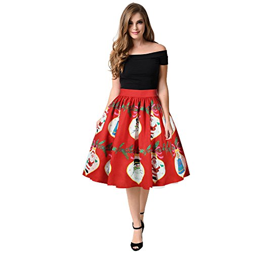 Landfox Cocktail Dress, Temperament Christmas Snowman Xmas Tree Santa Claus Winter Sweet Print Skirt Red]()