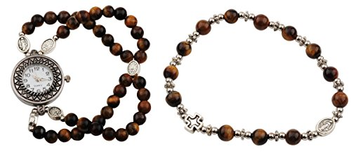 Tiger Eye Colored Prayer Bead Rosary Watch and Bracelet Set, One Size from Rosary Watch Gift Set