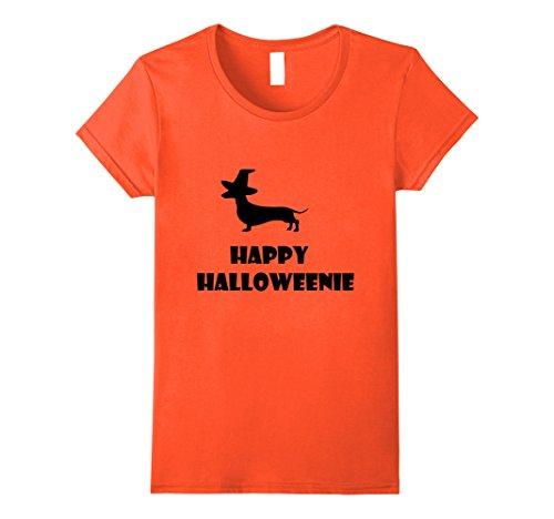 Funny Weenie Dog Costumes (Womens Happy Halloweenie T-Shirt Dachshund Halloween Weiner Dog Tee XL Orange)