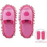 Microfiber Slippers Floor Cleaning Mop Men and Women Unisex House Dusting Slippers Floor Cleaning Tool (Cartoon Pink, Women 7-10/Men5-8)