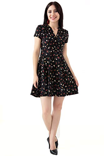Summer Short Sleeve V Neck Casual Floral Paisley Midi Dress (Black Floral, Medium)