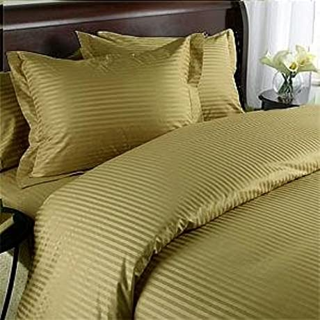 Egyptian Bedding 1200 Thread Count California King Siberian Goose Down Comforter 8 PC Bed In A Bag Brown Damask Stripe