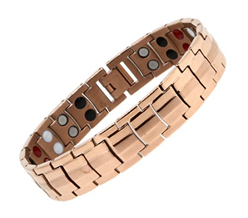Mens Titanium Copper Tone Strong Link Magnetic Bracelet with Free Link Removal Tool (Light - Strong Titanium