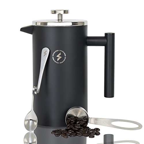 SparkPod French Press Coffee & Tea Maker Complete Bundle (34 Oz - 1 Liter) 4 Items - Double Wall Stainless Steel French Press, Serving Scoop, Dessert Spoon & 4 Ultra-Fine Filter Screens