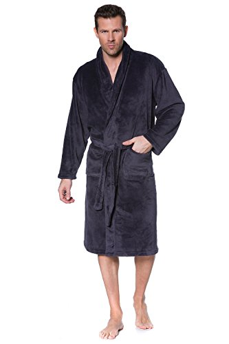 JP 1880 Men's Big & Tall Soft Microfiber Bathrobe Dressing Gown Grey XXXXX-Large 701445 12 (Big And Tall Mens Robes)