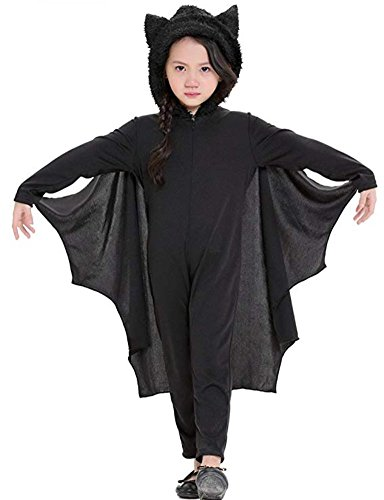 Vogcos Kids Halloween Bat Cosplay Costume for Boys Girls Outfits with Gloves (M)