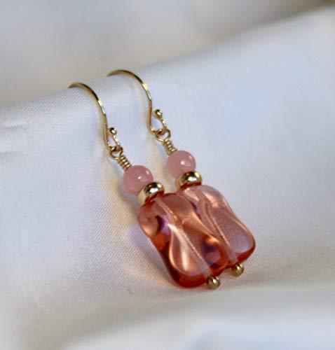 Pink Venetian Murano Glass Beads Rose Quartz Solid 14k Gold Beaded Earrings