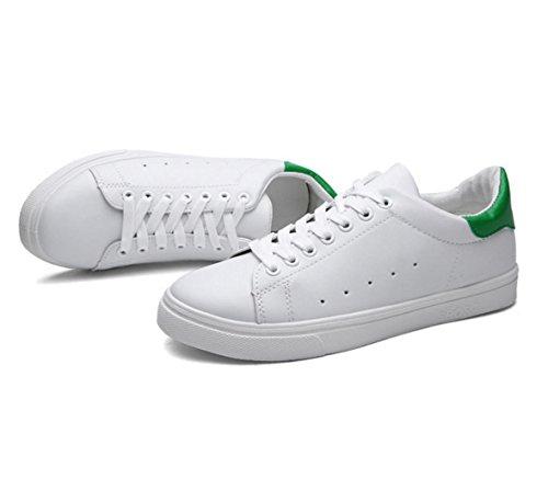 WZG zapatos respirables de los nuevos hombres zapatillas de deporte blancas de los estudiantes jóvenes hombres zapatos white green