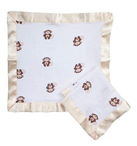 Sleeper Taggies (aden by aden + anais Issie Security Blanket, Super Soft 100% Cotton Muslin, 2 Pack, Caleb - Monkey)