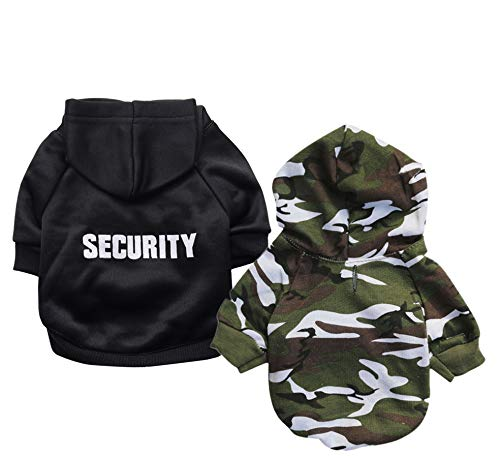 Ollypet Dog Hoodie Security Clothes for Pets Camo Puppy Fleece Outfit Winter Apparel Teacup Chihuahua Yorkie Pack of 2