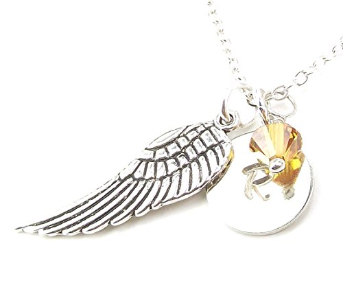 Personalized Angel Wing Necklace with Birth Month Crystal from Swarovski Custom Initial Charm - Necklace Charm Swarovski Crystal