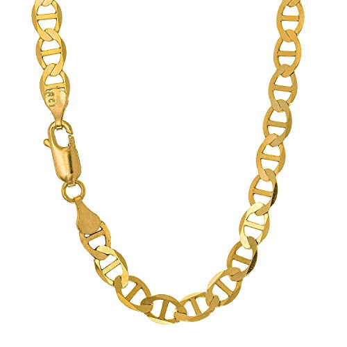 - JewelStop 10k Solid Yellow Gold 3.2 mm Mariner Chain Anklet, Lobster Claw Clasp - 10