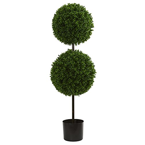 Nearly Natural 3.5' Boxwood Double Ball Artificial Topiary Tree UV Resistant (Indoor/Outdoor), Green - Boxwood Double Ball