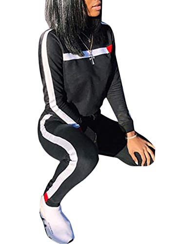 DINGANG Women Tracksuit Set 2 Piece Outfit Stripe Tops Sweatpants Jogger ()
