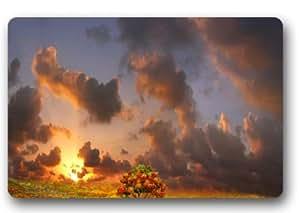 Fabulous Store Custom diseño especial de puesta de sol con diseño de árboles oscuro nube Tela machine-wahable non-woven Felpudo para interiores/al aire libre