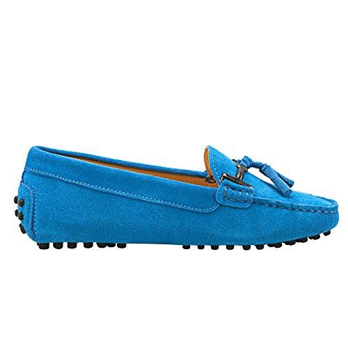 Des Bleu Mocassins Les Shenduo Loafer Appartements D7057 Daim Femmes Conduite Cuir Bateau Pantoufles En 7tf8q