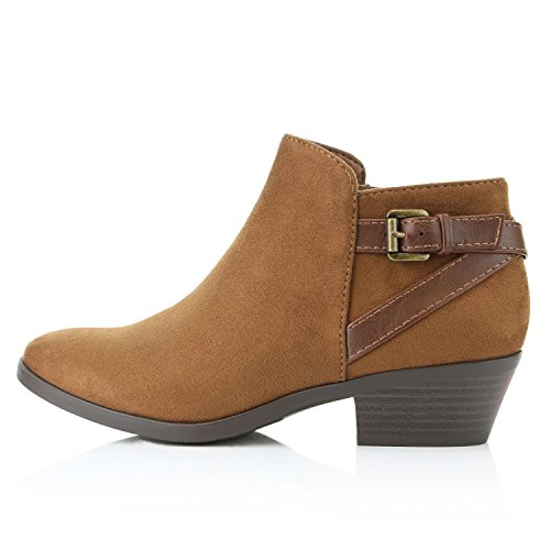 Ankle Suede DailyShoes Cognac Heel Western Strap Toe Women's Comfortable Stylish Pointed Booties Boots Chunky Cowboy HBvAwOHq