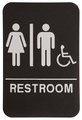 rock ridge unisex restroom sign blackwhite ada compliant