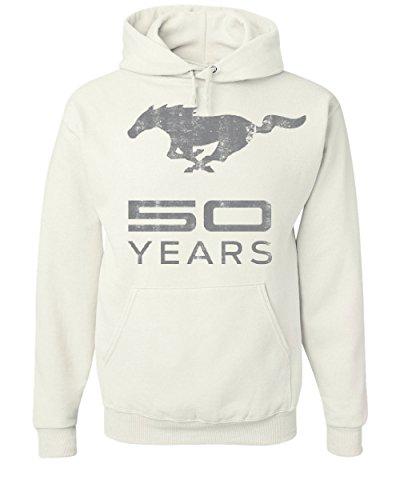 Ford Mustang 50 Years Hoodie Anniversary Licensed Sweatshirt White S