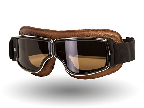 IV2 Classic, Leather Motorcycle Goggles | Helmet Compatible, Extra Long Adjustable Strap (Brown Leather/Smoke Lens)