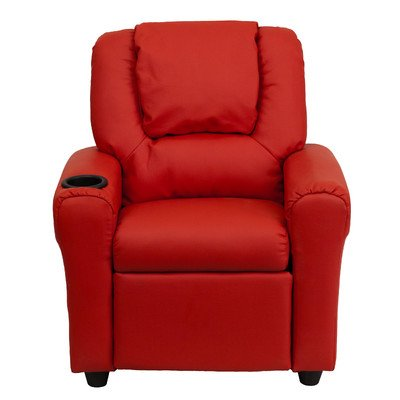 Contemporary Kids Recliner- Enjoy the Comfort That Adults Experience- Has a Strong Wood Frame With Soft Foam in Durable Vinyl Upholstery- With a Cup Holder- Red Color*
